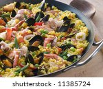 Seafood Paella In A Paella Pan