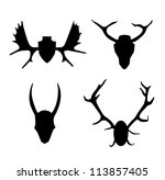 set of contours horns  antlers. ... | Shutterstock .eps vector #113857405