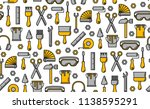 seamless outline pattern with... | Shutterstock . vector #1138595291