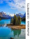 spirit island in maligne lake ... | Shutterstock . vector #1138598771