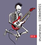 skeleton punk rock guitar... | Shutterstock .eps vector #1138604021