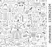 cute doodle school pattern.... | Shutterstock .eps vector #1138626104
