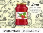 strawberry jam ads. vector... | Shutterstock .eps vector #1138663217
