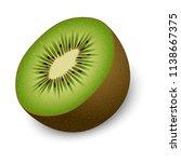 half of kiwi mockup. realistic... | Shutterstock .eps vector #1138667375