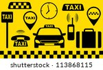 transport set of taxi objects silhouette on yellow background
