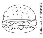 cheeseburger icon. outline... | Shutterstock .eps vector #1138686305
