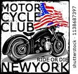 photo print vintage motorcycle... | Shutterstock . vector #1138687397