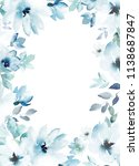 watercolor floral template for... | Shutterstock . vector #1138687847