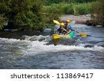 young couple enjoy white water... | Shutterstock . vector #113869417