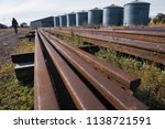 obsolete train tracks in a old... | Shutterstock . vector #1138721591