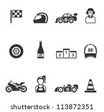 racing icon series in single... | Shutterstock .eps vector #113872351