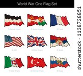 world war one waving flag set.... | Shutterstock .eps vector #1138728851