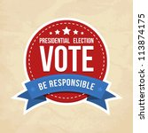presidential election label.... | Shutterstock .eps vector #113874175