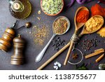 spices for cooking with kitchen ... | Shutterstock . vector #1138755677