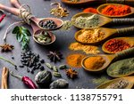 spices for cooking with kitchen ... | Shutterstock . vector #1138755791