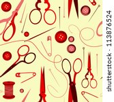 seamless pattern with scissors  ... | Shutterstock .eps vector #113876524