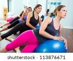 aerobic pilates women group... | Shutterstock . vector #113876671