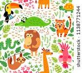 Cute Animal In Jungle Pattern....