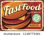 burgers decoration retro sign... | Shutterstock .eps vector #1138775381