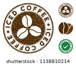 iced coffee brown stamp. vector ... | Shutterstock .eps vector #1138810214