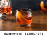 alcoholic red negroni cocktail... | Shutterstock . vector #1138814141