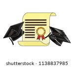 parchment diploma and hat... | Shutterstock .eps vector #1138837985