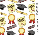 parchment diploma and hats... | Shutterstock .eps vector #1138837991