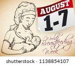 beautiful hand drawn brunette... | Shutterstock .eps vector #1138854107