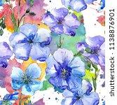 blue flax flower. floral... | Shutterstock . vector #1138876901