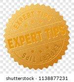 expert tips gold stamp reward.... | Shutterstock .eps vector #1138877231