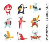 vector cartoon animals and... | Shutterstock .eps vector #1138887374
