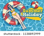 summer girl with float in the... | Shutterstock .eps vector #1138892999
