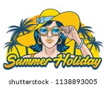summer holiday design with girl ... | Shutterstock .eps vector #1138893005