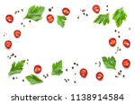 frame of various spices on... | Shutterstock . vector #1138914584