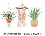 macrame plant hangers in... | Shutterstock .eps vector #1138956254