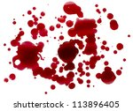 Blood droplets (splatters) isolated on white. Clipping path.