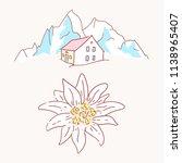 edelweiss chalet hut cabin... | Shutterstock .eps vector #1138965407
