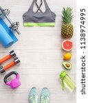 sports equipment and healthy... | Shutterstock . vector #1138974995
