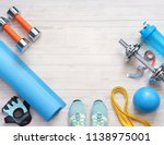 sports equipment on a white... | Shutterstock . vector #1138975001