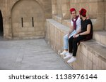 two friends visiting the castle ... | Shutterstock . vector #1138976144