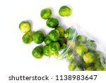 plastic bag with frozen brussel ... | Shutterstock . vector #1138983647