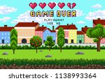 game over pixel are design with ... | Shutterstock .eps vector #1138993364