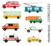 cartoon transport set. fire... | Shutterstock .eps vector #1139011511