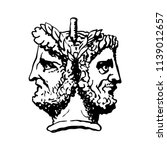 two faced janus. two male heads ... | Shutterstock .eps vector #1139012657