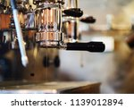 coffee machine is making coffee ... | Shutterstock . vector #1139012894