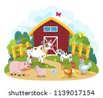 lovely cartoon and happy farm... | Shutterstock .eps vector #1139017154
