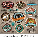set of premium quality vintage... | Shutterstock .eps vector #113904349