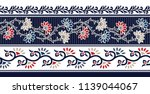 horizontal flower border on navy | Shutterstock .eps vector #1139044067