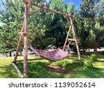 hammock at the fir trees... | Shutterstock . vector #1139052614