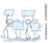 stick figures marching on a... | Shutterstock .eps vector #1139054687